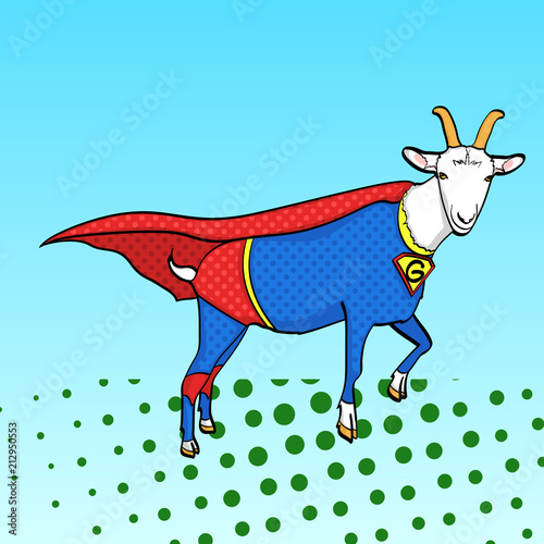 Foto Spatwand Pop Art Pop art background. Flies Goat Animal Dressed As Superhero With clothes Vigilante Character. Comic style, vector