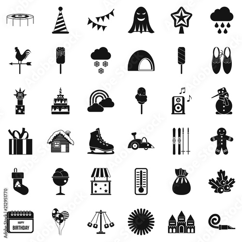 Children carousel icons set. Simple style of 36 children carousel vector icons for web isolated on white background - 212951770