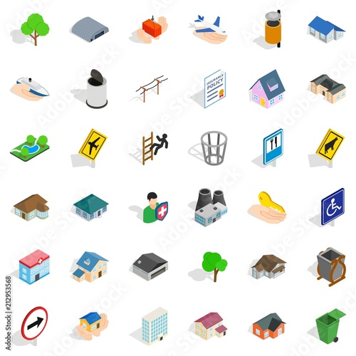 Town park icons set. Isometric style of 36 town park vector icons for web isolated on white background