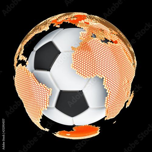 Global Soccer concept, 3D rendering
