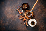 Cups of coffee, beans, sugar and cinnamon - 212961533