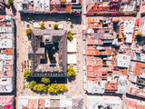 aerial view of old european city. tower of city hall