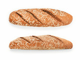 Two view of white bread with sesame isolated with clipping path - 212961941