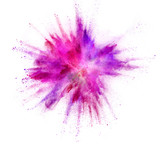 Explosion of coloured powder on white background - 212962966