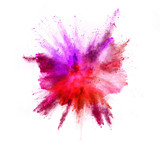 Explosion of coloured powder on white background - 212962969