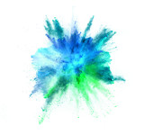 Explosion of coloured powder on white background - 212962980