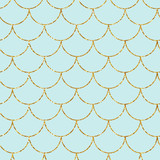 Mermaid or fish gold glitter scales seamless pattern. Fashion print. Vector illustration. - 212969908