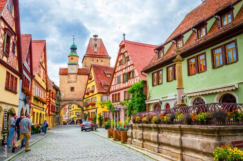 Leinwanddruck Bild Beautiful streets in Rothenburg ob der Tauber with traditional German houses, Bavaria, Germany