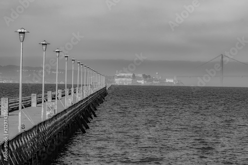 Black and white of the San Francisco Bay fromBerkeley Ca.