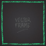 Frame drawn with a crayon. Wax crayon empty shape. Vector image of hand drawn stroke frame. Green sguare outlined shape. - 212981189