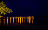 Nightlife lighting is beautiful, often seen by tourist attractions and residential areas by the sea.