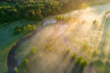 Summer morning aerial landscape