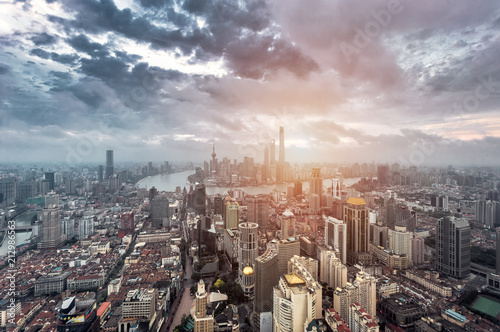 Plexiglas Shanghai Shanghai skyline and cityscape at dawn