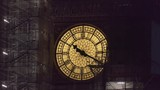 A Close-up view of the clock. Scaffolding around the Big Ben Tower. London at night. - 212992579
