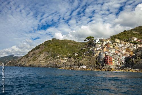 Town Riomaggiore at Cinque Terre at Ligurian sea in Italy