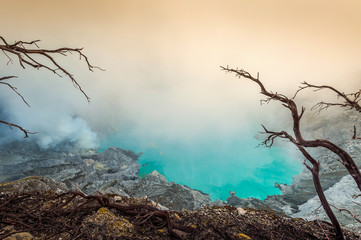 Sulfur fumes from the crater of Kawah Ijen Volcano in Indonesia © tawatchai1990