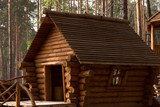 Wooden fairy hut in a pine forest. Log cabin - 213003152