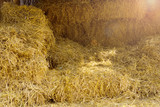 Dry hay stacks in rural wooden barn interior - 213003171