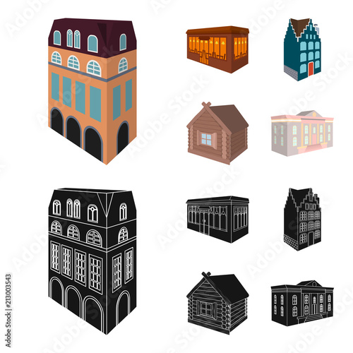 Residential house in English style, a cottage with stained-glass windows, a cafe building, a wooden hut. Architectural and building set collection icons in cartoon,black style vector symbol stock