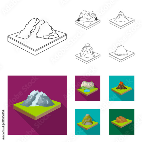 Fotobehang Wit Mountains, rocks and landscape. Relief and mountains set collection icons in outline,flat style isometric vector symbol stock illustration web.