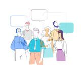 Gruppo di Persone che discutono di  notizie ed Eventi di Attualità - 213005529
