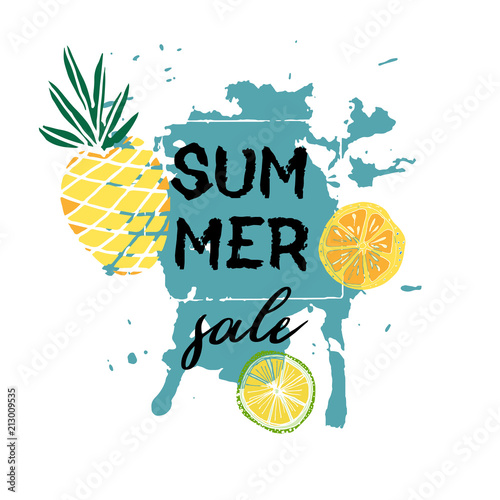 Text Summer  sale, discount banners.Juicy pineapplesand citrus with grunge elements, ink drops, abstract background. Vector illustration - 213009535