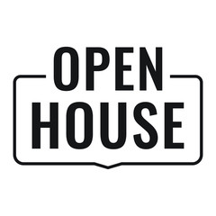 Open house. Vector badge, stamp on white background.