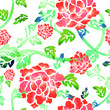 This is a  traditionally Chinese ornament with flowers and leafs using watercolor brush. - 213013108