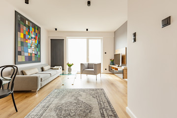 Front view of a modern living room interior with a vintage rug, grey couch and armchair, glass coffee table, window and colorful graphic © Photographee.eu
