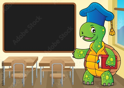 Fotobehang Voor kinderen Turtle teacher theme image 2
