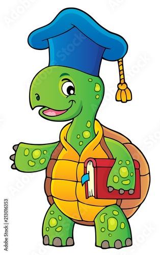 Fotobehang Voor kinderen Turtle teacher theme image 1