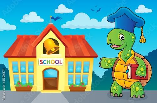Fotobehang Voor kinderen Turtle teacher theme image 3