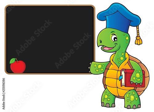 Fotobehang Voor kinderen Turtle teacher theme image 4