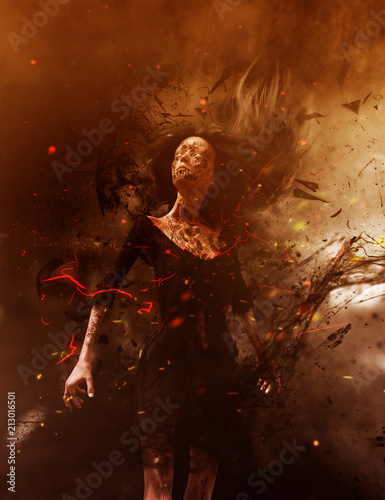 3d illustration of Ghost woman in the woods,Scary background mixed media - 213016501