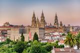 Hazy sunset on monumental Santiago de Compostela cathedral.