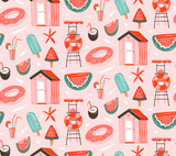 Hand drawn vector abstract graphic cartoon summer time flat illustrations seamless patterns with cocktails,watermelons float and ice cream and beach cabin isolated on pink pastel background - 213021508
