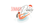 Hand drawn vector abstract cartoon summer time graphic illustrations art with beauty girl on unicorn float ring swimming on pool and Summer paradise typography quote isolated on white background - 213021906
