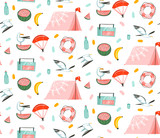 Hand drawn vector abstract cartoon summer time graphic illustrations artistic seamless pattern with beach gull birds,camping tent,watermelon and banana fruits isolated on white background - 213021936