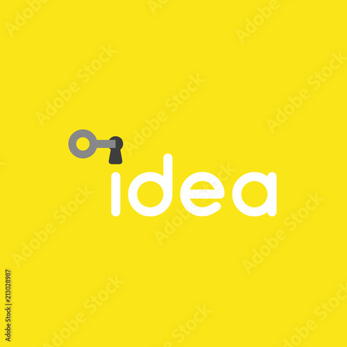 vector icon concept of key into idea word keyhole on yellow background
