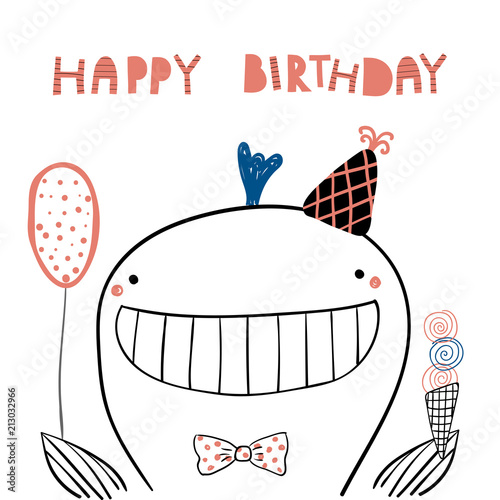Hand Drawn Birthday Card With Cute Funny Whale In A Party Hat Balloon Ice