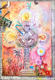Mystic celtic cross with colored flowers and alchemic symbols