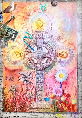 Aluminium Imagination Mystic celtic cross with colored flowers and alchemic symbols