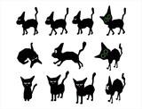 Black cat drawing cartoon