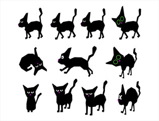 Black cat drawing cartoon © Franck_Jeannin