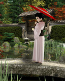 Young Japanese Woman in Pink Kimono with Parasol Standing in a Garden - illustration - 213039756