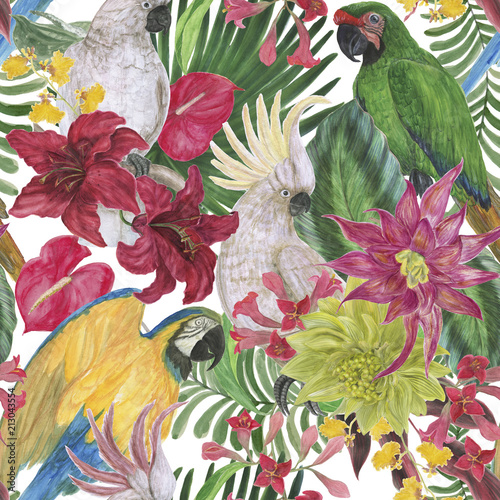 Fototapeta Watercolor painting seamless pattern with white cockatoo birds and tropical flowers, leaves