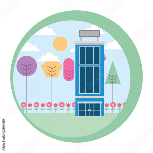 Aluminium Wit hotel building natural trees landscape vector illustration
