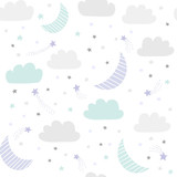 Cute night sky vector pattern with hand drawn stars, clouds and moon. Seamless baby background. - 213045172