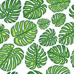 Summer Exotic Seamless Pattern With Tropical Leaves.