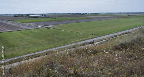 Plexiglas Khaki Coast Netherlands. Julianadorp. Fileds behind the dunes. Agriculture.